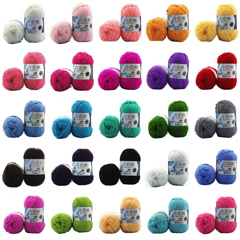 5pcs/pack 50g Milk Soft Cotton Baby Knitting Wool Yarn Milk Cotton Thick Yarn For Knitting Scarf Hand Knitting Crochet Yarn