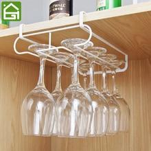 Cupboard Hanging Organizer Shelves Kitchen Under Cabinet Glass Holder  Kitchen Wine Glass Draining White Metal Shelf