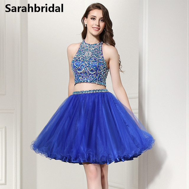 cd66318fd Dos piezas corto Homecoming Vestidos azul caliente Halter cuello Backless  Tulle graduación vestidos de baile para