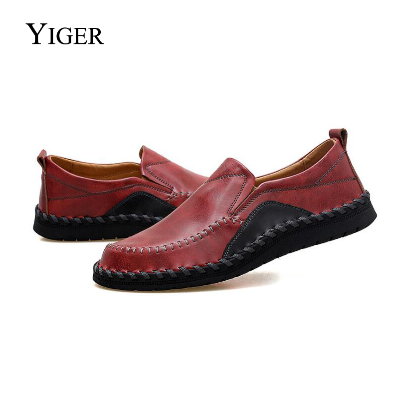 YIGER New Man Loafers Driving Shoes Large Size Genuine Leather Sets foot shoes Men Peas shoes Fat wide shoes Black/Brown 0101 цены онлайн