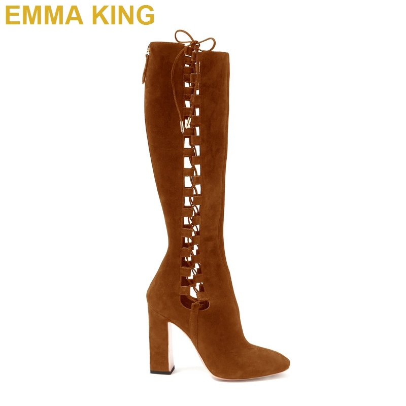 Suede Leather Knee High Boots Women Chunky High Heels Long Boots Cut out Lace Up With Zipper Fashion Designer Shoes Woman 35-43Suede Leather Knee High Boots Women Chunky High Heels Long Boots Cut out Lace Up With Zipper Fashion Designer Shoes Woman 35-43