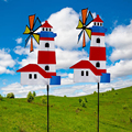 Color Random Pinwheel 3D Whirligig Wind Spinner for Garden Yard Outdoor for Toy Insect Decor Windmill Lawn