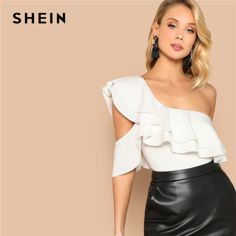 SHEIN Sexy White Layered Ruffle One Shoulder Mid Waist Skinny Backless Bodysuit Women Summer Short Sleeve Solid Club Bodysuits(China)