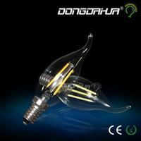 2 w 4 w c35 power saving candle light bulb filament e14 bulb 350 lm super wihte LED imitation tungsten tip global pull the tail