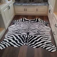 White Tiger/Zebra Fur Faux Artificial Sheepskin Carpet Washable Pad Fluffy Rugs Hairy Wool Soft Warm Carpets Mat For Living Room