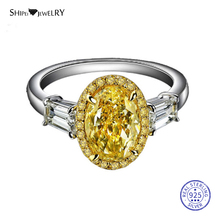цена Shipei Genuine Oval Citrine Ring for Women 100% 925 Sterling Silver Gemstone Engagement Wedding Party Ring Fine Jewelry Gift онлайн в 2017 году