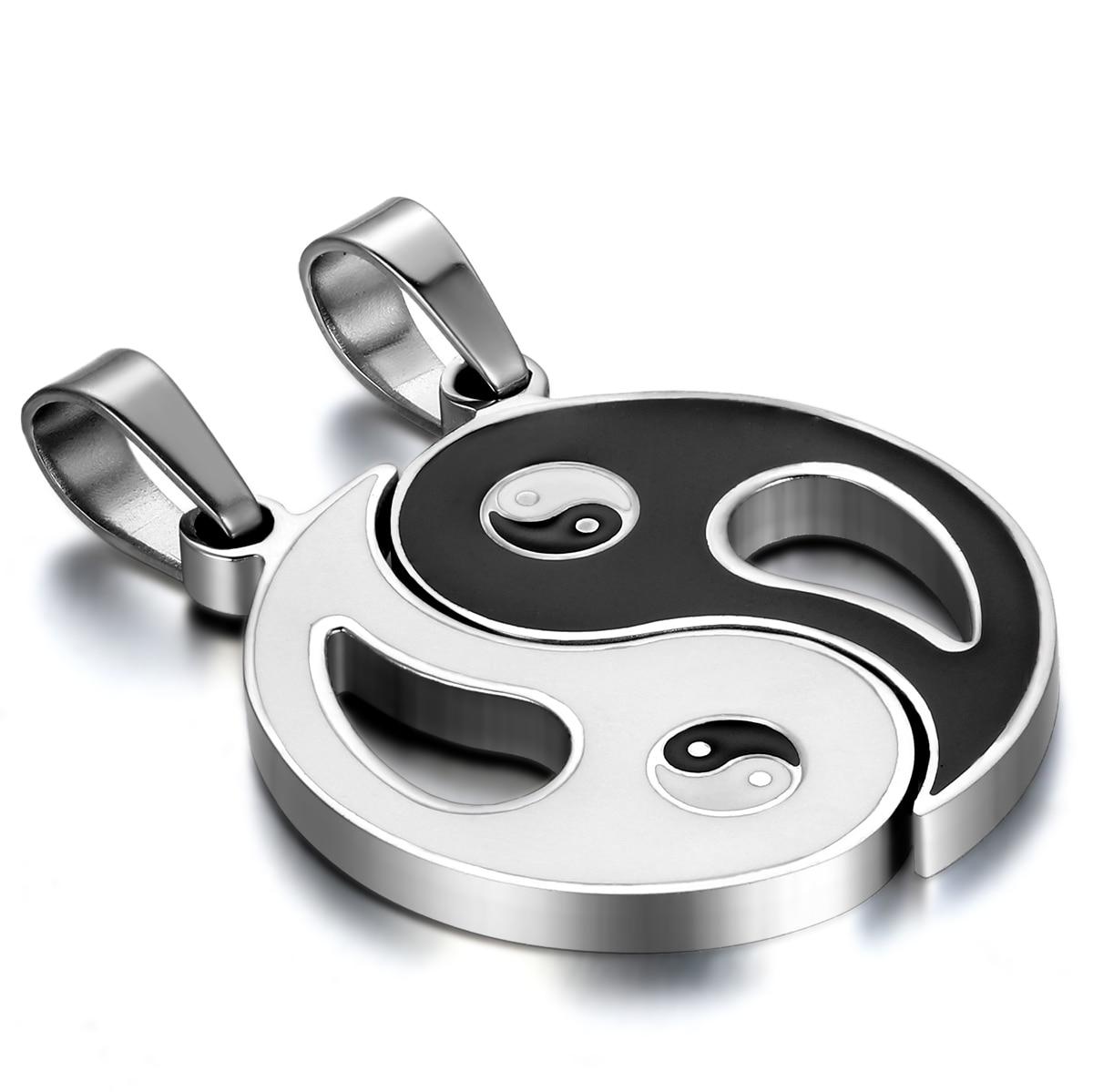 BONISKISS Stainless Steel Chinese Mystical Yin Yang Tai Chi Ba Gua Matching Pendant Gold Silver Black With Chian(Pair)