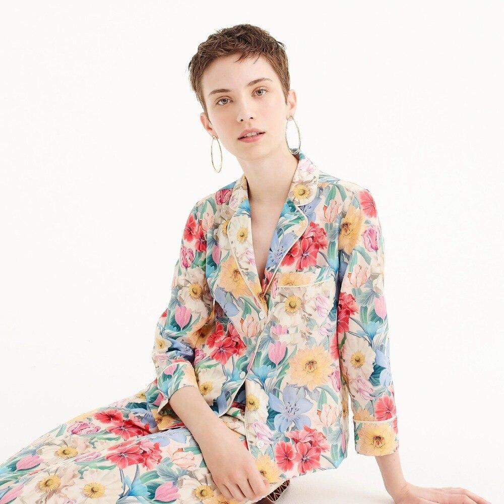 2018 automne nouveauté vintage mode col cranté à manches longues rétro soie imprimé femmes pyjamas soie blouse chemises de grande taille