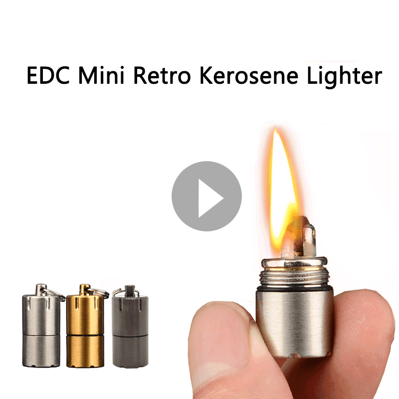 Outdoor Portable Cigarette Retro Kerosene Lighter Compact Super Mini Key Chain Capsule Gasoline Keychain Petrol Lighter (No Oil)