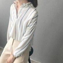 Diário Vestuário Feminino 2018 Outono Moda Casual Camisa Polo Top V Neck  Azul Listrado Pullover Blusa de Manga Longa para As Mul. 23d109ffefe01