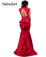 ใหม่2017หรูหราVestidoพรรคผู้หญิงยาวMaxi DressสีแดงสูงคอนัวเนียกลับPontiอย่างเป็นทางการชุด