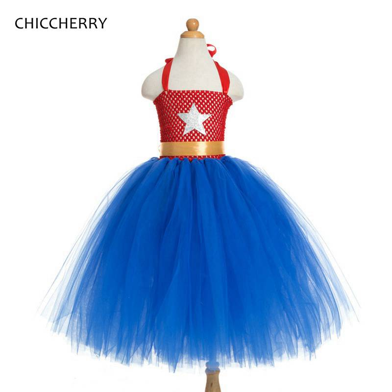 Red & Blue Star 4th of July Toddler Girl Outfits Wonder Woman Kids Party Lace Tutu Dress Vestido De Bebe Costumes for Baby white cotton shirt white blue red star petal skirt girl outfit set dress my 1st 6th 4th of july costume nb 8y lkpo0037