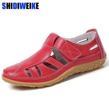 Damskie sandały gladiatorki buty z prawdziwej skóry drążą sandały na płaskim obcasie damskie dorywczo miękkie dno letnie buty damskie sandał na plażę