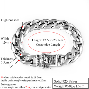 Image 2 - ZABRA Real 925 เงินสร้อยข้อมือ 12 มม.Smooth Flower ปลอดภัยล็อคภาษาโปลิชคำ Link Chain ชาย BIKER สร้อยข้อมือเงิน