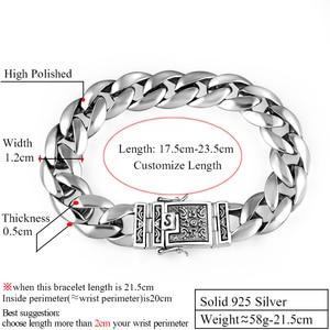 Image 2 - ZABRA Real 925 Silver Mens Bracelet 12mm Wide Smooth Flower Safe Lock High Polish Link Chain Male Biker Silver Bracelet