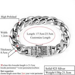 Image 2 - Zabra Echte 925 Zilveren Heren Armband 12 Mm Breed Glad Bloem Safe Lock Hoge Polish Link Keten Mannelijke Biker zilveren Armband