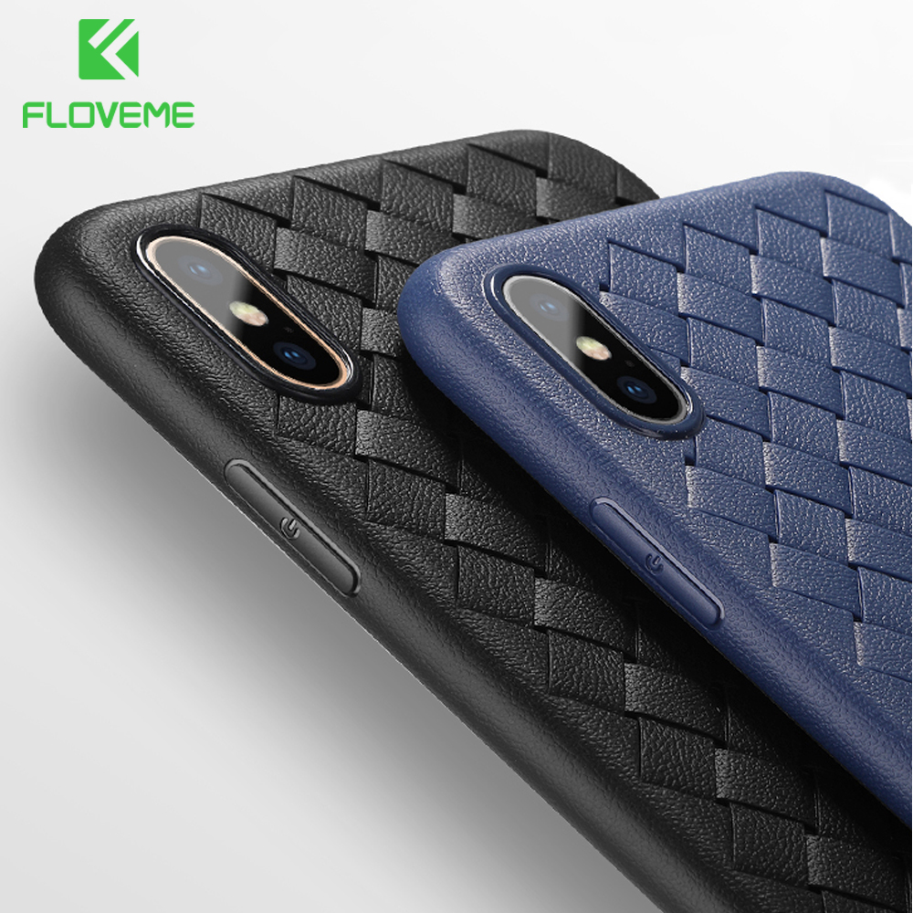 FLOVEME Super Soft Phone Case For iPhone 8 X XS Max Luxury Grid Cases For iPhone 6 6s 7 8 Plus XR XS Cover Silicone Accessories (China)