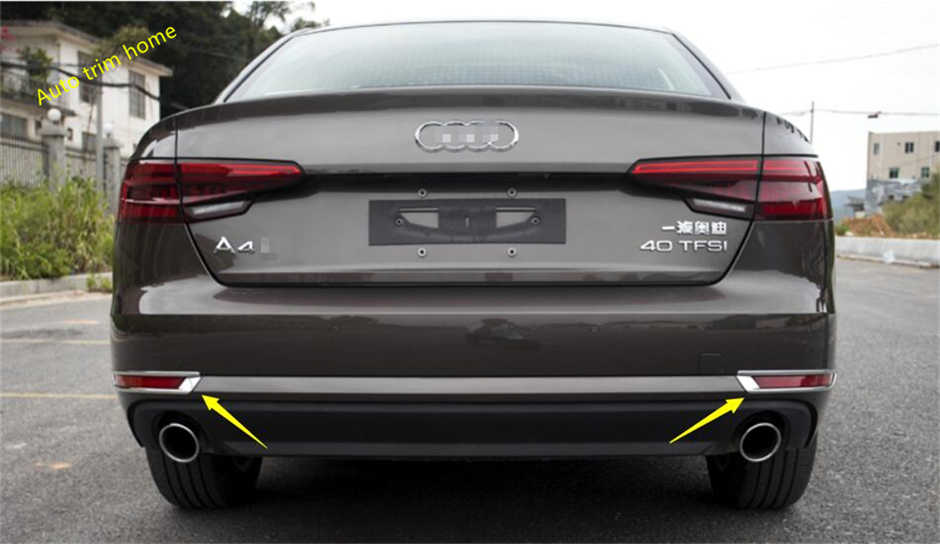 Lapetus Rear Tail Fog Lights Lamp Eyelid Eyebrow Cover Trim Fit For Audi A4 B9 Sedan 2016 2017 2018 2019 ABS / Auto Accessory