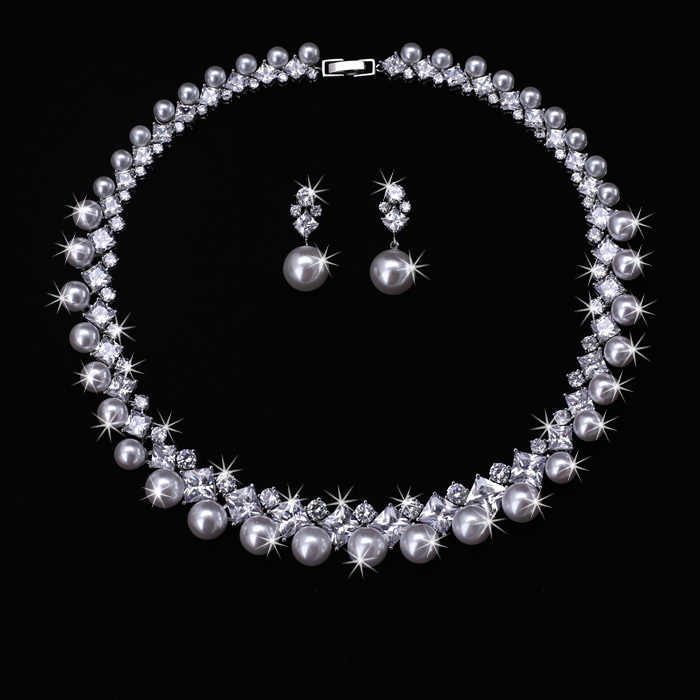 Clear  Zirconia and Pearl  18KWG  AAA Cubic Zircon Wedding Jewelry Set ,Earrings Necklace,Promotion,Nickel Free, Factory price