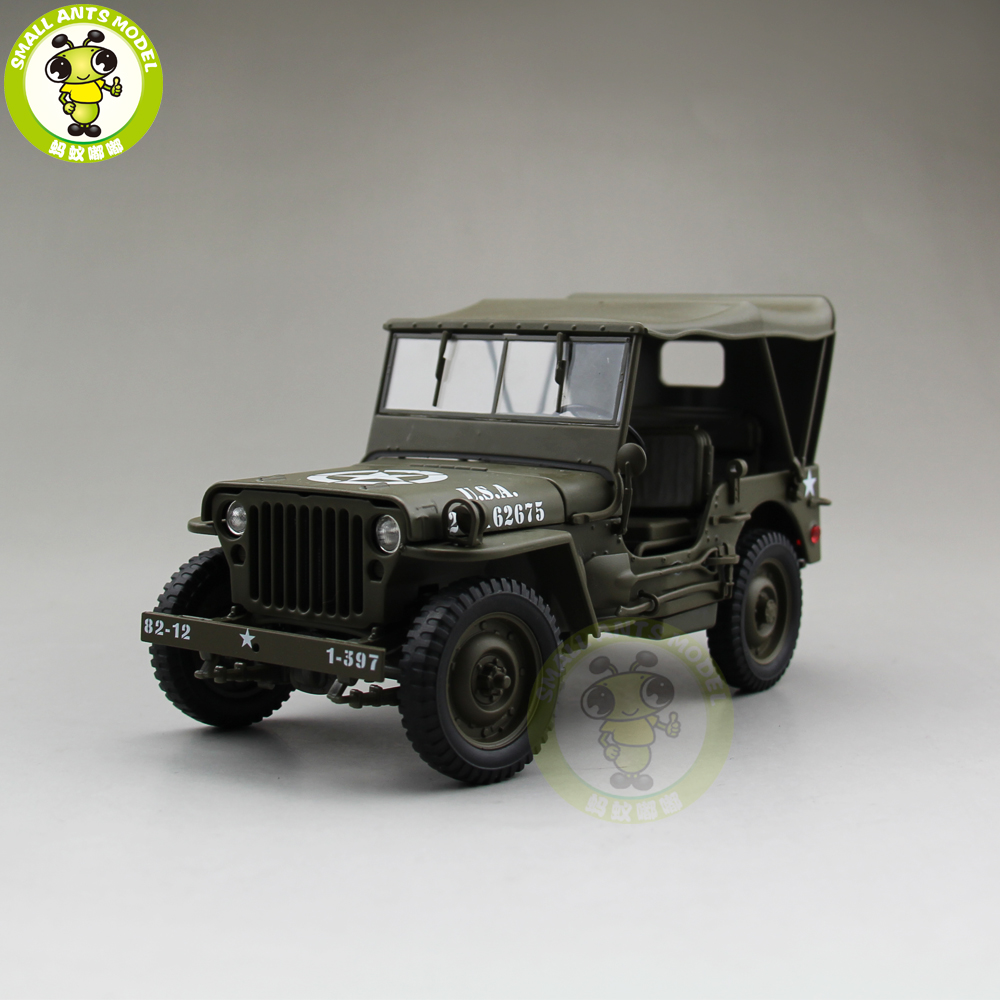 1/18 1941 JEEP WILLYS MB USアーミーダイキャストカーモデルおもちゃWelly Army Green(ウィリージープ)1 10