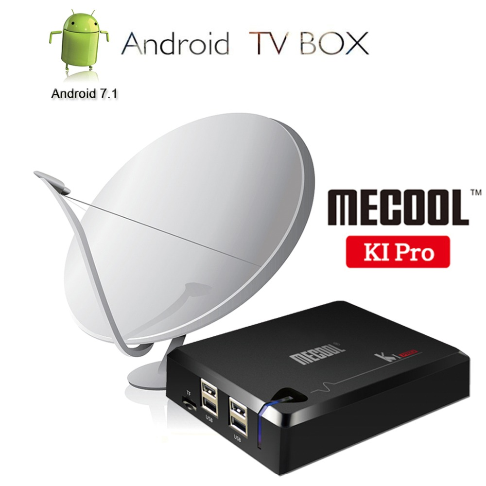 MECOOL KI 3in1 Satellite Récepteur Décodeur DVB S2 T2/C + Android 7.1 TV Box Smart TV 4 k set Top Box 2 gb RAM 16 gb ROM Amlogic S905D