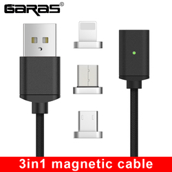 GARAS USB Type C/Micro USB/For iphone Magnetic Cable USB-C/Type-C Fast Charger Magnet Cable For iPhone/ipad Mobile Phone Cable