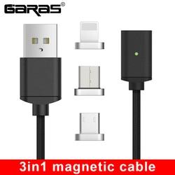 GARAS usb type C/Micro USB/для iphone Магнитный кабель USB-C/type-C быстрое зарядное устройство магнитный кабель для iphone/ipad кабель для мобильного телефона