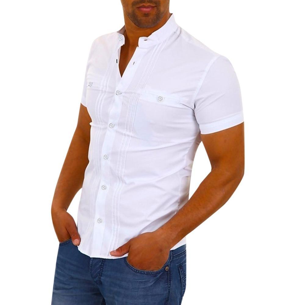 새로운 화이트 셔츠 남성 streetwear 캐주얼 셔츠 camisa social masculina 여름 짧은 소매 솔리드 슬림 피트 camisa hombre clothing