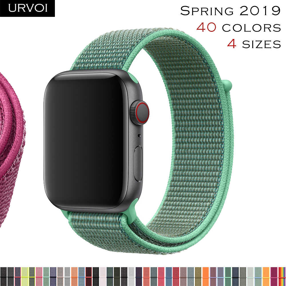 URVOI Sport loop for apple watch series 4321 band for iwatch strap double-layer breathabe hook fastener woven nylon 2019 Spring