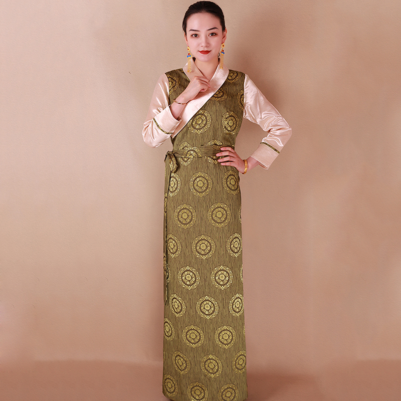 New Arrival Spring Autumn Chinese Traditional Costume Tibet Long Robe Elegant Grown Tang Suit Traditional Dress Women