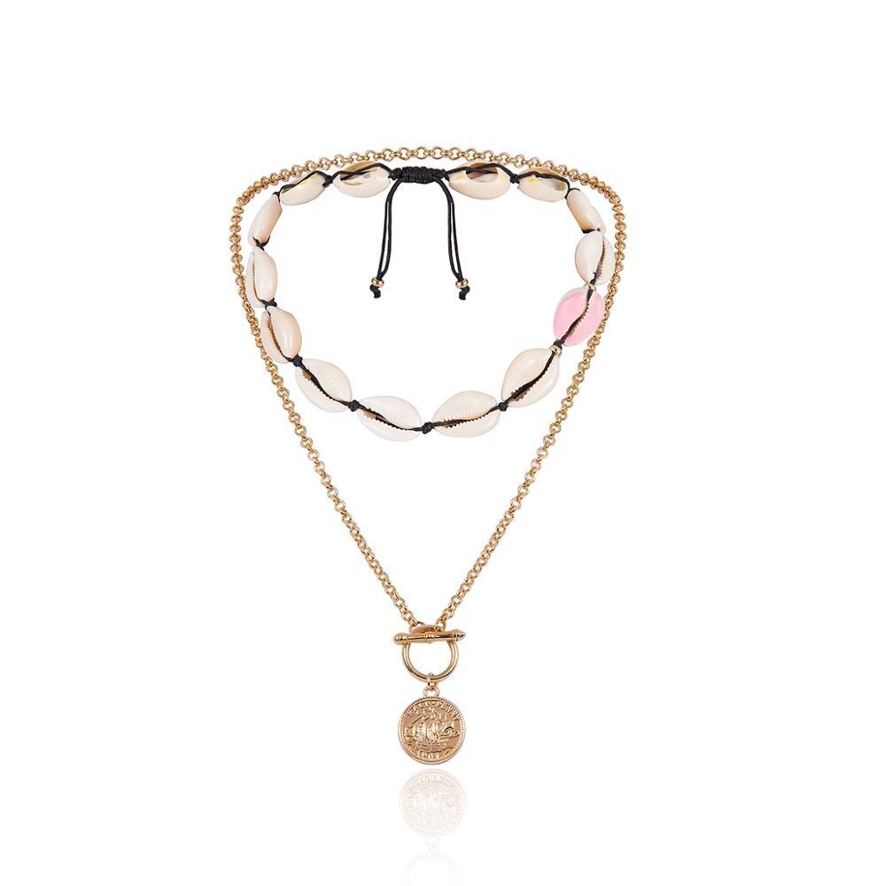 Ingemark Boho Seashells Collar Choker Necklace Women NE BA Natural Colorful Big Shells Korean Simple Women Bracelet Jewelry Set in Jewelry Sets from Jewelry Accessories