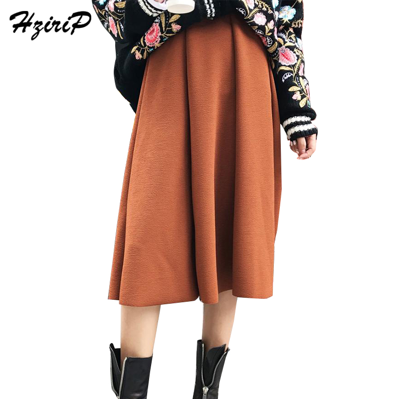 HziriP High Street Elegant Elastic A-Line Skirts Womens Autumn 2017 Solid Color Pleated Skirt Casual Saias Na Altura Do Joelho