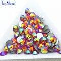 TopStone Gold Orange AB Color ss3-ss30 Round Glass Crystal Flatbacks Nail Art 3D Stones Glue On Non Hotfix Rhinestones
