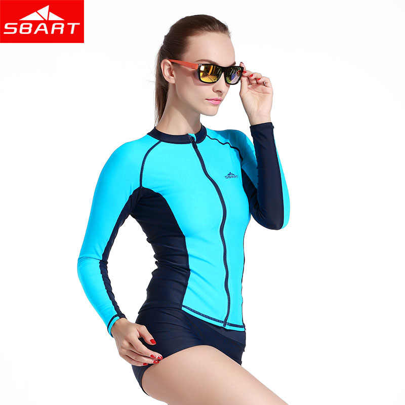254c5bf9297 ... SBART Long Sleeve Swim Rash Guard Shirts UPF50 Anti-UV Rashguard Top  With Zipper Men ...