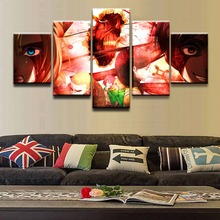 Canvas HD Print Picture Wall Art Home Decorative Oil Draw 5 Pieces Annie Leonhart  Attack on Titan Eren Yeager Poster Framework