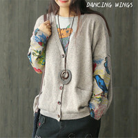 pull femme nouveaute 2019 Spring Birds Print women cardigan knit outerwear Long sleeves Sweater Casual knitwear