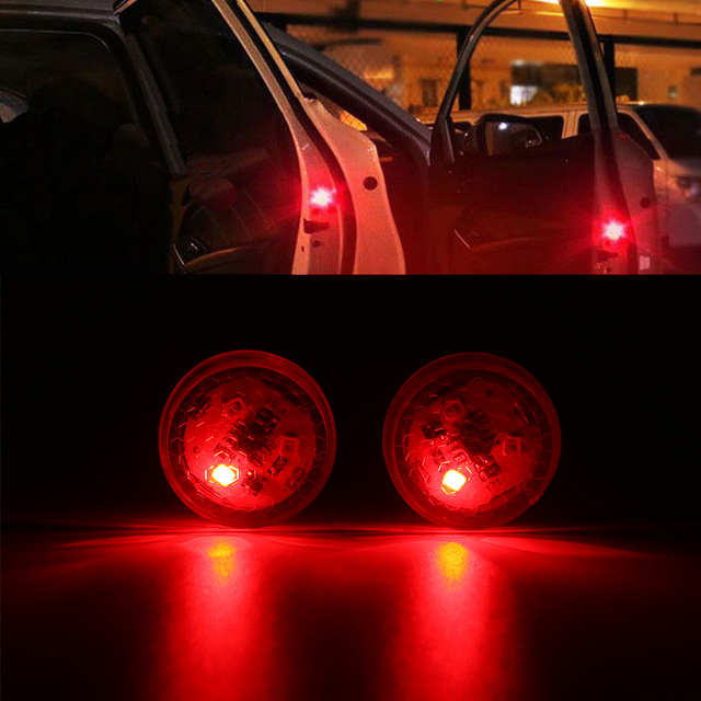 2X Car LED Opening Door Safety Warning Anti-collision Lights Flash Light Red Kit Wireless Alarm Lamp Anti-collid signal light 3