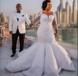 Image 3 - 2021 plus size africano nigeriano praia sereia vestidos de casamento querida lantejoulas frisado mangas compridas vestidos de noiva vestido de casamento