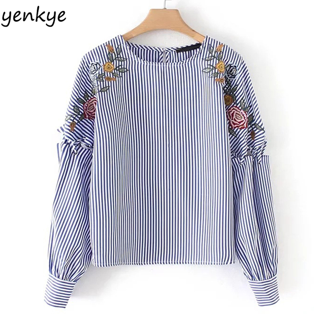 2e244a72 Spring Floral Embroidery Striped Shirt Women Blouses Lace Up Long Sleeve O  Neck Casual Plus Size Tops YD8448