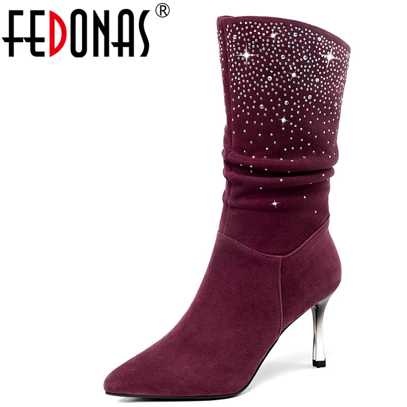 FEDONAS 1New Women Mid-Calf Boots Autumn Winter Warm High Heels Shoes Woman Pointed Toe Elegant Bling Party Prom Dancing Pumps fedonas 1new women mid calf boots autumn winter warm high heels shoes woman pointed toe elegant bling party prom dancing pumps