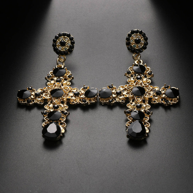 1 Pair New Women Vintage Baroque Style Bohemian Luxury Crystal Gold Cross Large Long Dangle Earrings Special Shining Nice Gift
