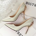 Free Shipping Korean Elegant Carved Flowers Metal Plating Shoes Wedding Pumps Women High Heels Shoe Pump Shoes SMYDS-0085