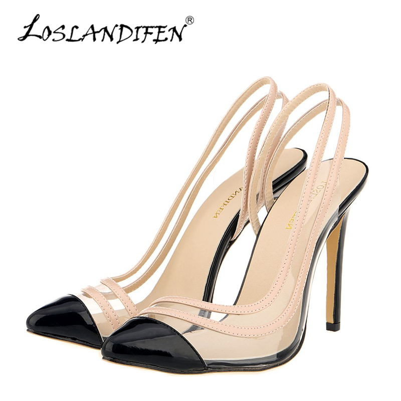 LOSLANDIFEN New Slingbacks Women Pumps Sexy High Heels Pointed Toe Stiletto Summer Shoes Woman Party Wedding Shoes Black Nude beango 2018 new fashion women high heels pointed toe striped pumps mixed colors rivet stiletto party wedding shoes woman