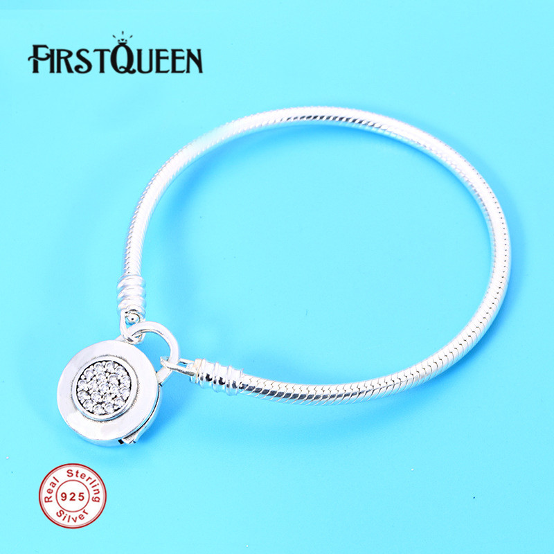 FirstQueen Genuine 925 Sterling Silver Jewelry Basic Snake Chain Bracelets for Women Fine Jewelry Pulseira Feminina Masculina