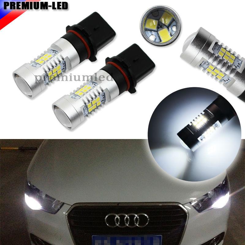 (2) Ксеноновые белые P13W светодиодный ные лампы без ошибок для 2008-2012 Audi A4 Q5 дневные ходовые огни (только для A4 Q5 с галогенной фарой
