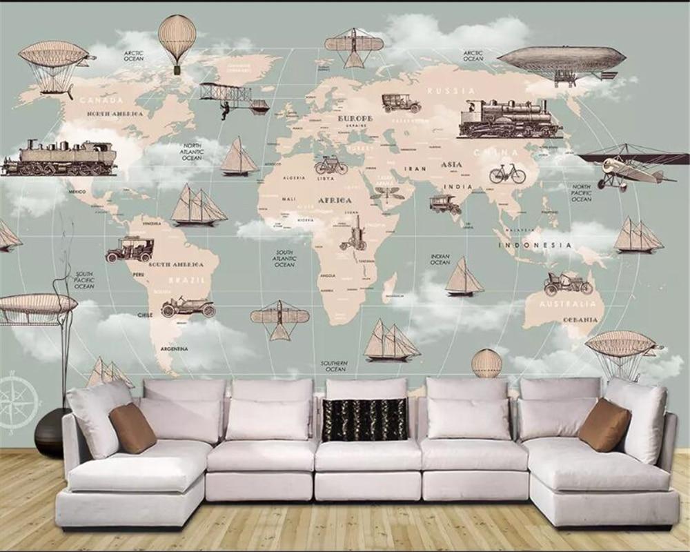 Beibehang Custom Children Room Wall 3d Wallpaper Cartoon World Map Hot Air Balloon Sailboat Background Wall 3d Wallpaper Behang