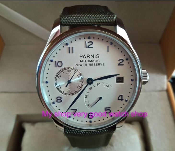 где купить 43mm PARNIS White dial power reserve Automatic Self-Wind Mechanical movement Auto Date men's watch zdgd186a по лучшей цене