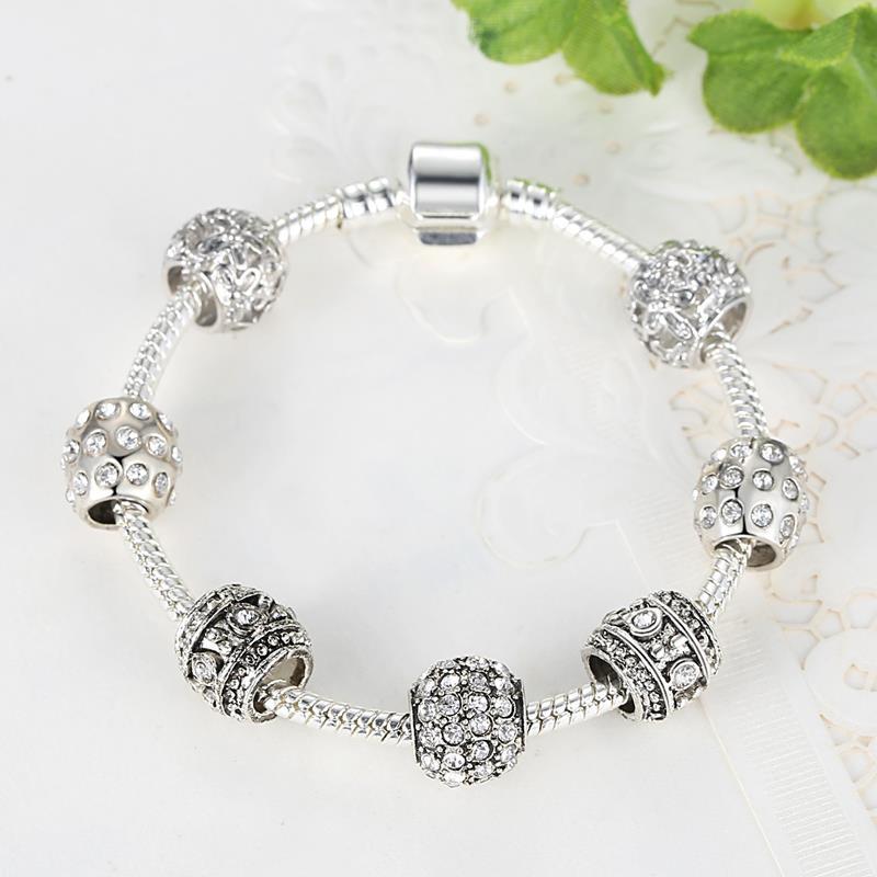 fashion women bracelet silver plated crystal bead charm