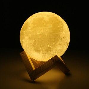 Image 3 - Dropship usb 3d 전등 8 cm 10 cm 달 램프 levitating 밤 빛 led 색깔 변화 접촉 점화 침실 램프