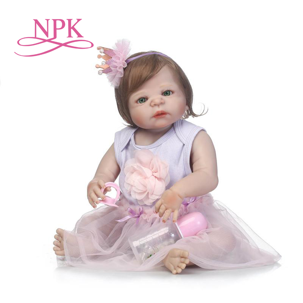 NPK 57cm lovely full silicone sumilation reality newborn baby girl with crown headdress silicone reborn baby
